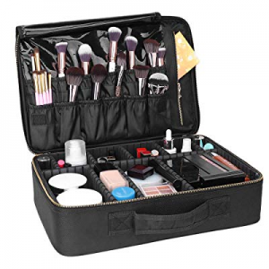 80.0% off Black Makeup Train Case Cosmetic Bag Organizer Portable Artist Storage Bag 16.14 x 11.81..