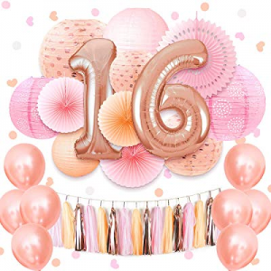50.0% off NICROLANDEE Coral Pink Sweet 16th Birthday Party Supplies 40inch Rose Gold 16 Number Foi..