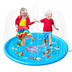 One Day Only!MIJOYEE Splash Pad now 50.0% off , 68 inches Splash Mat, Outdoor Water Play Sprinkler..
