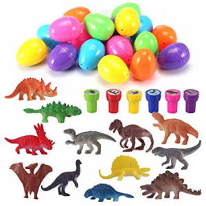 Easter Eggs with Prefilled Dinosaur Toys & Dinosaur Stampers (18 Pieces) now 50.0% off , Perfect f..