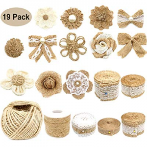 19Pack Natural Burlap Flowers Set now 50.0% off , Include Lace Burlap Ribbon Roll, Handmade Rustic..