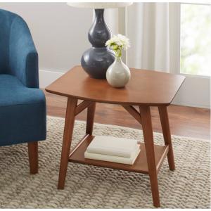 Better Homes & Gardens Reed Mid Century Modern Side Table, Pecan @Walmart
