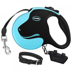 WINSEE Retractable Dog Leash with Dog Collar & Waste Bag Dispenser 16ft Dog Walking Leash for Medi..