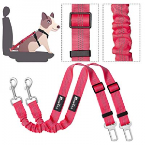 SlowTon Dog Seat Belt now 50.0% off , 2 Pack Adjustable Pet Car Seatbelt Elastic Bungee Buffer Hea..