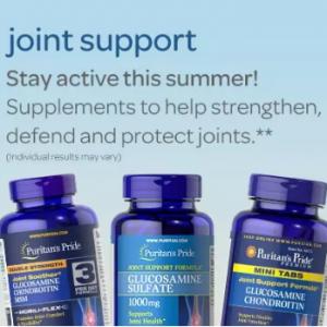 Puritans Pride 關節健康保健品熱賣 收氨糖維骨力軟骨素、硫酸葡萄糖胺