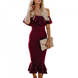 YeMgSiP Womens Evening Dress Off Shoulder Party Flouncing Mermaid Formal Prom Gowns now 60.0% off