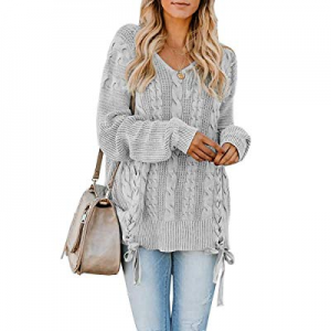 YeMgSiP Womens Plus Size Sweaters Pullover V Neck Chunky Cable Knit Fall Oversized Jumper Tops now..