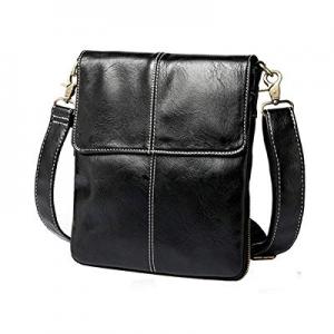 Men's Leather Messenger Bag Business Shoulder Bag Crossbody Bag (Black) now 30.0% off
