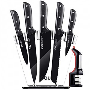 OOU Knife Set now 60.0% off , 7 Piece Kitchen Knives Set, High Carbon Stainless Steel Full Tang, P..