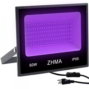 ZHMA 60W UV LED Black Light Flood Light with Plug now 40.0% off ,UV Lamp for Indoor and Outdoor Bl..