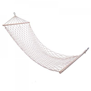 Tenozek Wood Pole Cotton Rope Hammock Bed with Rope White(TN-32498884-GT1) now 80.0% off