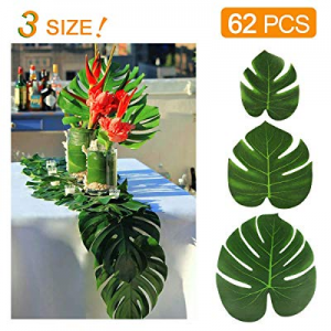 35.0% off KIDCHEER 62pcs Tropical Palm Leaves Party Decoration Supplies Artificial Monstera Plant ..