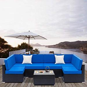 Tenozek Outdoor Furniture Set Patio Furniture Sectional Sofa All-Weather PE Rattan Wicker Conversa..