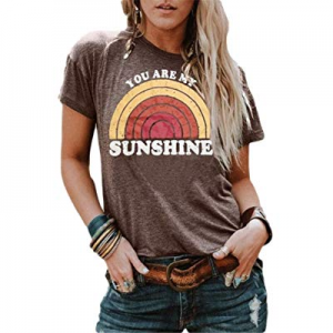 40.0% off Vanbuy Womens You are My Sunshine T Shirt Short Sleeve Printed Graphic Tees Casual Summe..