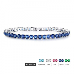 60.0% off EEPIRR AAA+ Cubic Zirconia Friendship Tennis Bracelet 18K White Gold Plated Round Cut CZ..