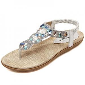 Zicac Women's Bohemian Rhinestone Thong Sandal Elastic Back Strap Clip Toe Flats Sandals now 55.0%..