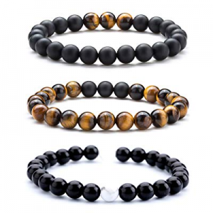55.0% off Hamoery Men Women 8mm Tiger Eye Stone Beads Bracelet Elastic Natural Stone Yoga Bracelet..