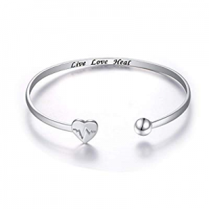 40.0% off S925 Sterling Silver Live Love Heal EKG Heartbeat Adjustable Open Cuff Heart Bangle Brac..