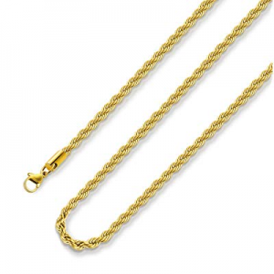 20.0% off 18k Real Gold Plated Rope Chain 2.5mm 5mm Stainless Steel Men Chain Necklace Women Chain..