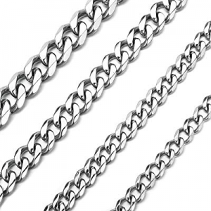 30.0% off High Polished 6mm 11mm Curb Chain Stainless Steel Link Necklace Jewelry for Men Women 16..