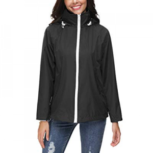 LOMON Women's Raincoat Lightweight Waterproof Outdoor Hooded Long Rain Jacket Windbreaker now 70.0..