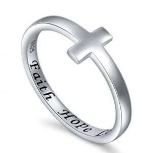 Inspirational Jewelry Sterling Silver Faith Hope Love Sideways Cross Ring Easter Gift now 50.0% off