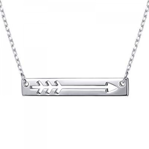 "925 Sterling Silver Love Arrow Horizontal Sideways Minimalist Bar Pendant Necklace for Women, 18"" .."