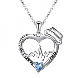 Nurse Gift Sterling Silver Engraved Nurses Have Healing Hearts EKG Heartbeat Necklace for Nurse Do..