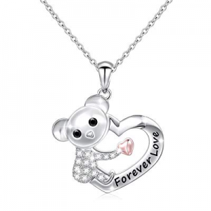 50.0% off Sterling Silver Forever Love Cute Animal Love Heart Necklace Ring Earrings for Women Gir..