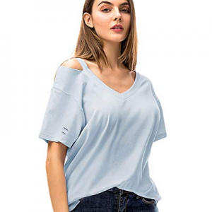 20.0% off MessBebe Women's V Neck Loose Fitting Shirts Summer Short Sleeve T Shirts for Women Cold..
