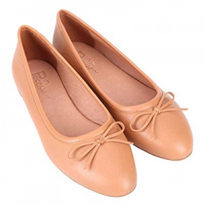 Pinpochyaw Ballet Flats for Women Slip On Flat Leather Shoes with Bows now 20.0% off