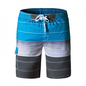 Fastkoala Men's Quick Dry Swim Trunks Striped Printed Beach Shorts with Pockets now 50.0% off