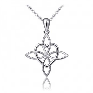 """(Mother and Child's Love) 925 Sterling Silver Infinity Love Knot Pendant Necklace, Rolo Chain 18"""" .."""
