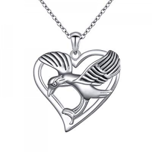 ALPHM S925 Sterling Silver Love Heart with Pendant Necklace for Women Girl 18'' Chain now 50.0% off