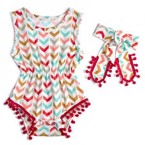 32.0% off UNICOMIDEA Baby Girls Rompers Newborn Sleeveless One-Pieces Jumpsuits Pom Pom Onesie wit..