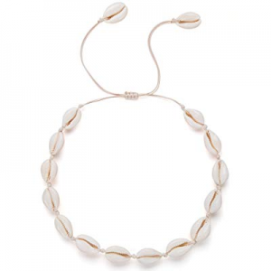Nackiy Sea-Shell-Necklace Choker for Women Summer Handmade Adjustable Natural Shell Collar Necklac..