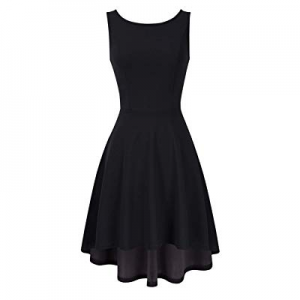 MISSKY Sleeveless Scoop Neck Open Back High Low Cocktail Skater Swing Casual Dresses for Women now..