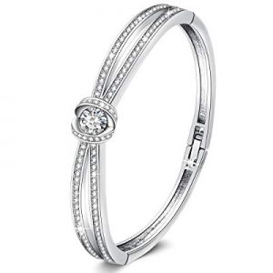 """GEORGE · SMITH White Gold Plated Bracelet """"Encounter of Love"""" 7 Inches Women Charm Bangle with Swa.."""