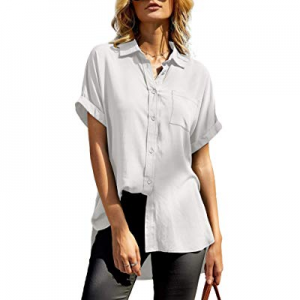 imesrun Womens Cuffed Sleeve Work Top Collared Casual Button Down Shirts Blouse with Pocket now 50..
