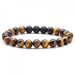 50.0% off Hamoery Men Women 8mm Tiger Eye Stone Beads Bracelet Elastic Natural Stone Yoga Bracelet..