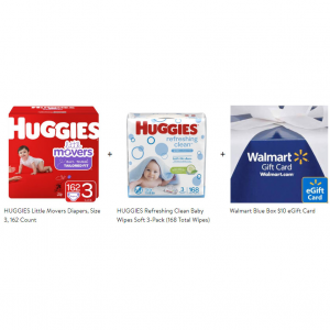 Huggies Little Movers Diapers with Huggies Refreshing Clean Refill 168ct @ Walmart