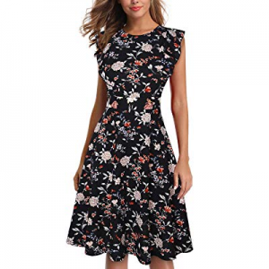 One Day Only!IHOT Women's Vintage Ruffle Floral Flared A Line Swing Casual Cocktail Party Dresses ..