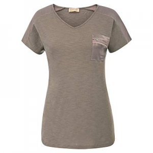 One Day Only!Kate Kasin Women's V Neck Short Sleeved Tops Zipper Decoration Blouse Shirt now 50.0%..