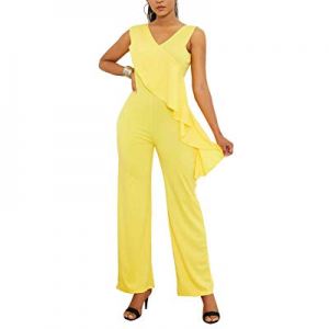 One Day Only!Ophestin Womens Sleeveless Solid Color Straight Leg Ruffle Jumpsuit for Work now 20.0..