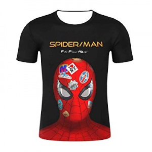 BADAWO Men's Spiderman Hero Far from Home Round Collar Short Sleeves T-Shirt Black Red Color now 5..