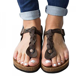 Syktkmx Womens Platform Wedge T Strap Thong Braided Ankle Strap Cork Mid Heel Sandals now 70.0% off