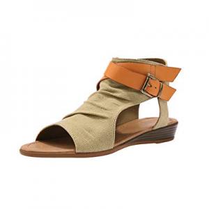 Huiyuzhi Womens Open Toe Fashion Gladiator Flat Sandals Strappy Summer Slip On Beach Shoes now 70...