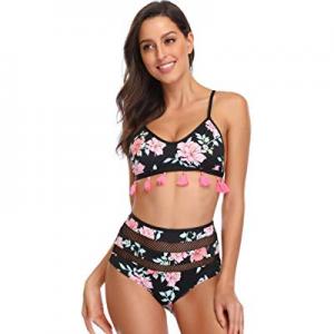 60.0% off sanatty Womens Bikini Two Piece Set 2019 Floral Print Tassel Mesh Bikini Swimsuits Bathi..