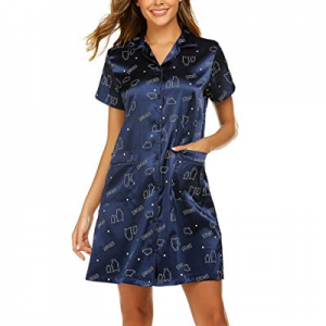 20.0% off Ekouaer Women's Button Down Nightgown Short Sleeve Printed Satin Nightshirt Sleep Shirts..