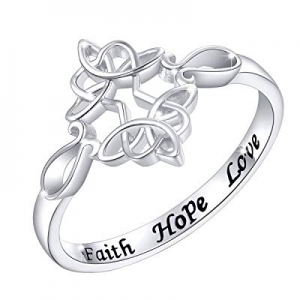 "Sterling Silver Engraved Faith Hope Love Celtic Sideways Cross Ring for Women Girls, 18"" now 50.0%.."